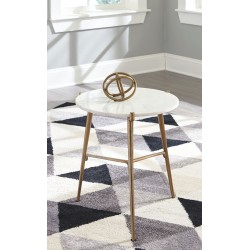 Chadton - White/Gold Finish - Accent Table