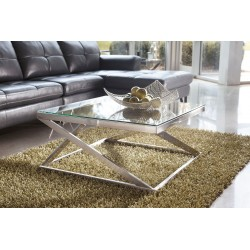 Coylin - Brushed Nickel Finish - Square Cocktail Table