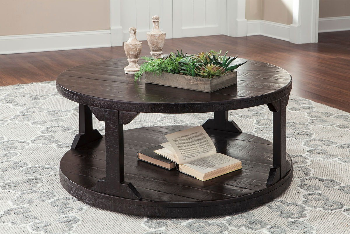 - Rogness - Rustic Brown - Round Cocktail Table
