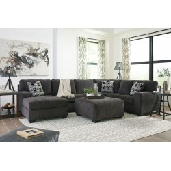Ballinasloe - Smoke - LAF Corner Chaise, Armless Loveseat, RAF Sofa Sectional & Ottoman