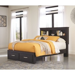 Reylow - Dark Brown - Queen Bookcase Storage Bed