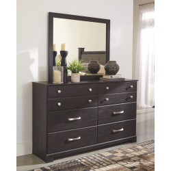 Reylow - Dark Brown - Dresser & Mirror