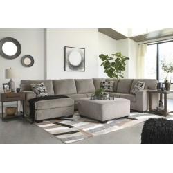 Ballinasloe - Platinum - LAF Corner Chaise, Armless Loveseat, RAF Sofa Sectional & Accent Ottoman