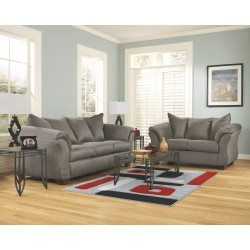 Darcy - Cobblestone - Sofa, Loveseat & Exeter Table Set