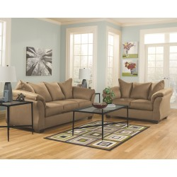 Darcy - Mocha - Sofa, Loveseat & Augeron Table Set