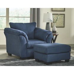 Darcy - Blue - Chair with Ottoman