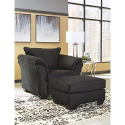 Darcy - Black - Chair with Ottoman