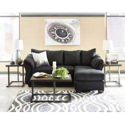 Darcy - Black - Sofa Chaise & Airdan Table Set