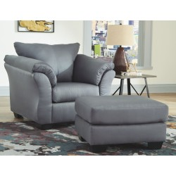 Darcy - Steel - Chair with Ottoman