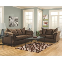 Darcy - Cafe - Sofa, Loveseat & Augeron Table Set