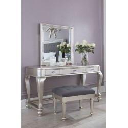 Coralayne - Silver - Vanity and Mirror with Stool