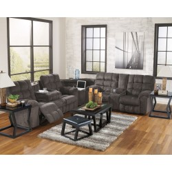 Acieona - Slate - REC Sofa with Drop Down Table, Wedge, DBL REC Loveseat with Console Sectional, Kelton Cocktail TBL with Stools