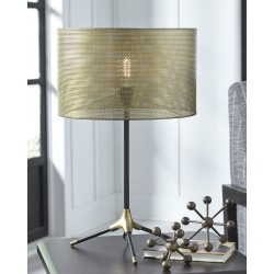 Mance - Gray/Brass Finish - Metal Table Lamp (1/CN)
