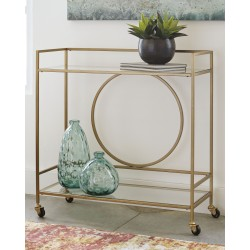 Jackford - Antique Gold Finish - Bar Cart