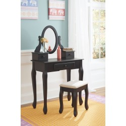 Huey Vineyard - Black - Vanity/Mirror/Stool (3/CN)
