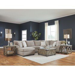 Baranello - Stone - LAF Corner Chaise, Armless Loveseat, RAF Sofa with Corner Wedge Sectional, Aldwin Cocktail Table & 2 End Tab