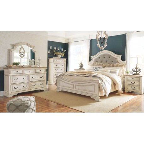 Realyn - Two-tone - 7 Pc. - Dresser, Mirror, California King UPH Panel Bed & 2 Nightstands