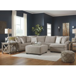 Baranello - Stone - LAF Sofa with Corner Wedge, Armless Loveseat, RAF Corner Chaise Sectional, Accent Ottoman & 2 Aldwin End Tab