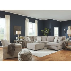 Baranello - Stone - LAF Sofa with Corner Wedge, Armless Loveseat, RAF Corner Chaise Sectional, Accent Ottoman & Searcy Accent Ch
