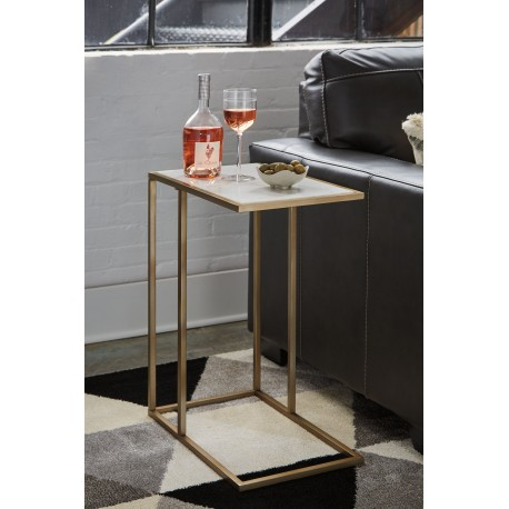 Lanport - Champagne/White - Accent Table