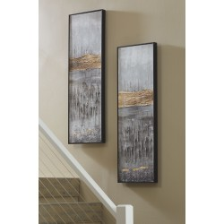 Aniyah - Black/Gold/White - Wall Art Set (2/CN)