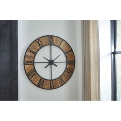 Byram - Natural/Black - Wall Clock