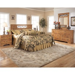 Bittersweet - Light Brown - 4 Pc. - Dresser, Mirror & Queen Panel Headboard with on Bed Frame