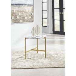 Wynora - White/Gold - Chair Side End Table