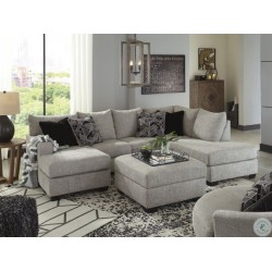 Megginson - Storm - LAF Sofa Chaise, RAF Corner Chaise Sectional, Round Swivel Chair & Ottoman With Storage