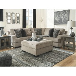 Bovarian - Stone - LAF Loveseat, RAF Sofa with Corner Wedge Sectional & Ottoman
