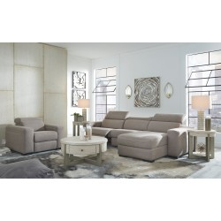 Mabton - Gray - LAF Zero Wall PWR Recliner, Armless Chair, RAF Press Back PWR Chaise Sectional & PWR Recliner/ADJ HDRST