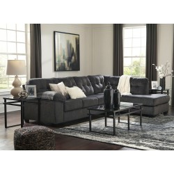 Accrington - Granite - LAF Sofa, RAF Corner Chaise Sectional & Laney Table Set