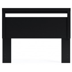 Flannia - Black - Queen Panel Headboard