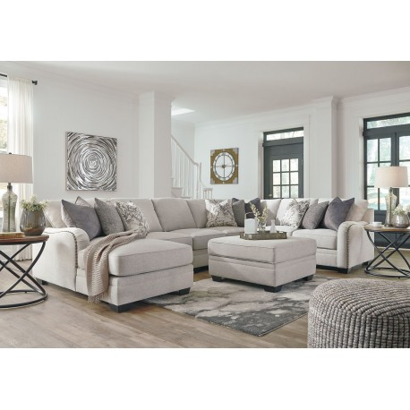 Dellara - Chalk - LAF Corner Chaise, Armless Chair, Armless Loveseat, Wedge, RAF Loveseat Sectional & Ottoman With Storage