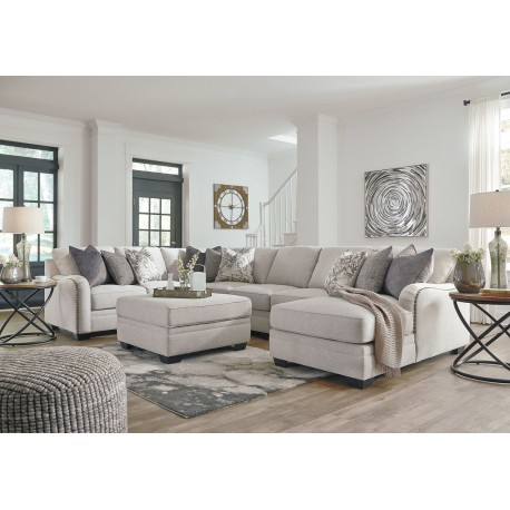 Dellara - Chalk - LAF Loveseat, Wedge, Armless Loveseat, Armless Chair, RAF Corner Chaise Sectional & Ottoman with Storage