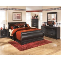 Huey Vineyard - Black - 5 Pc. - Dresser, Mirror & Queen Sleigh Bed