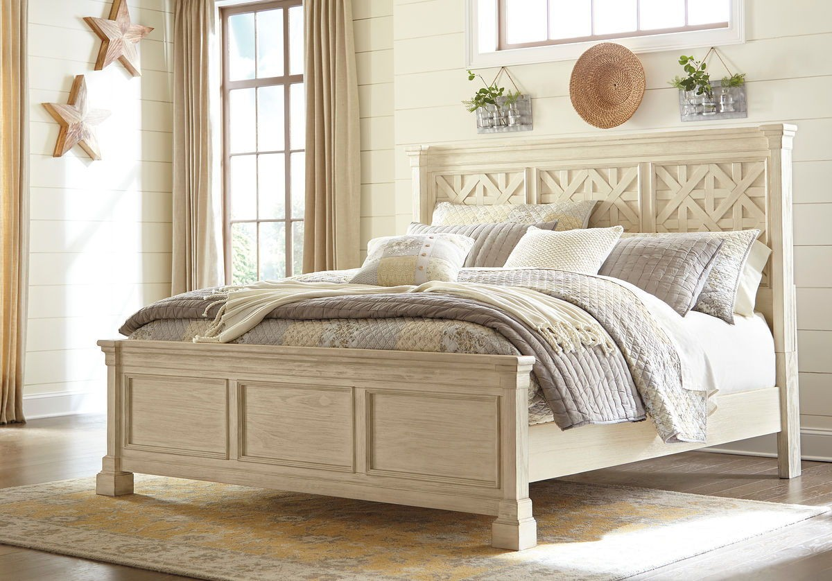 Bolanburg Antique White King Panel Bed
